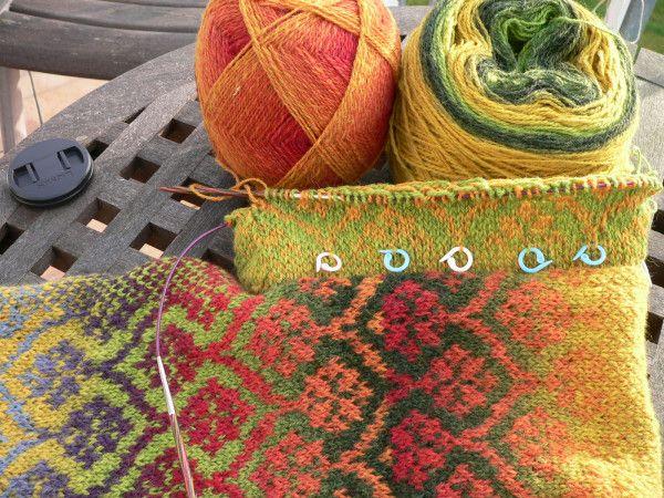 Knit Pretty Fair Isle Beanie In Poinsettia Theme Slouchy With