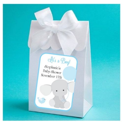 Personalized Little Peanut Baby Elephant Baby Shower Boxes With Bows (Set of 12 - as low as $1.50 each)
