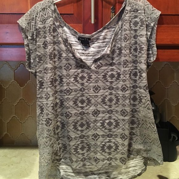 Size medium rue 21 top Gray rue 21 top size medium feels more like a large to me I love this shirt it's just too big Rue 21 Tops