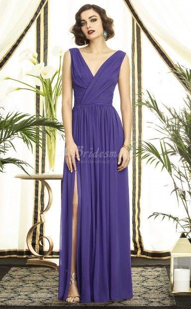 Regency Chiffon A-line V-neck Floor-length Bridesmaid Dresses