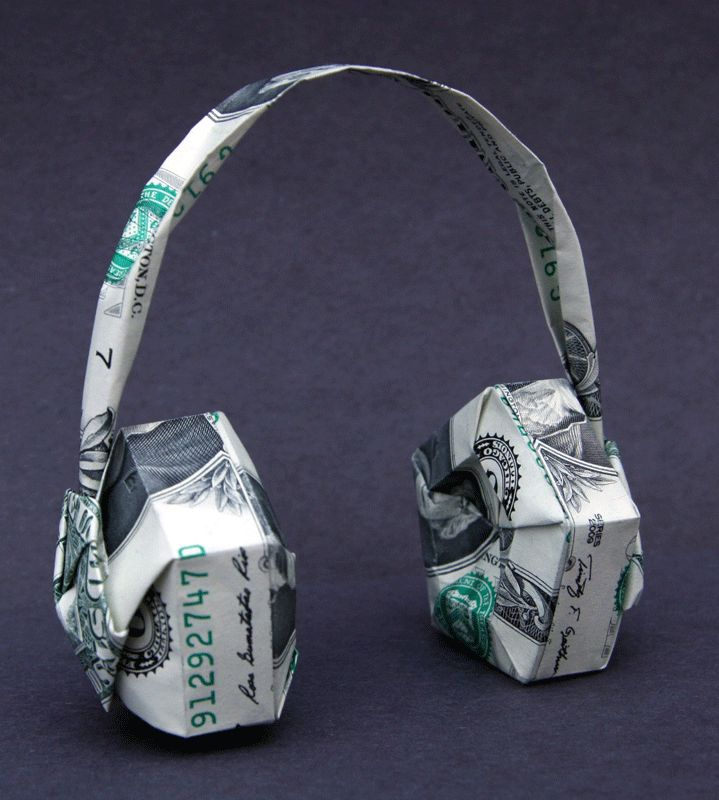 Money Origami Head Phones