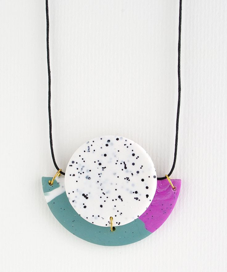 Circle & Half Moon Statement Polymer Clay Necklace by colourwork on Etsy