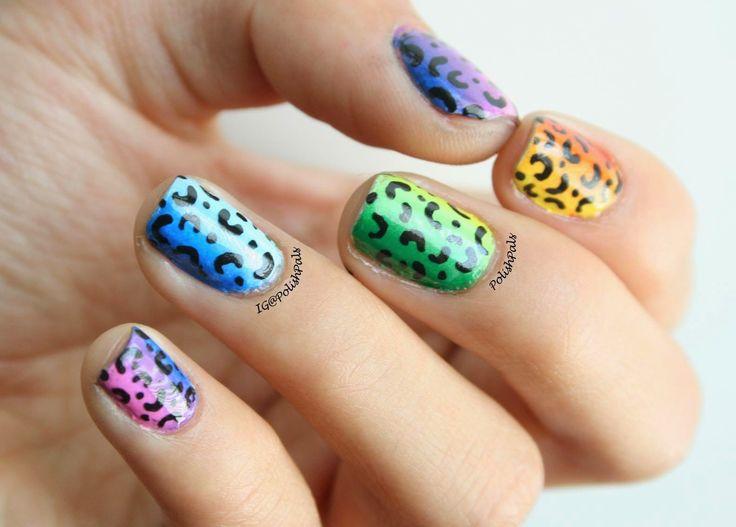 Rainbow Leopard Print Nails
