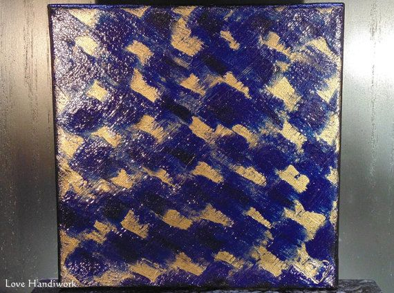 Blue & Bronze Abstract Square Painting 8x8 by LoveHandyWork