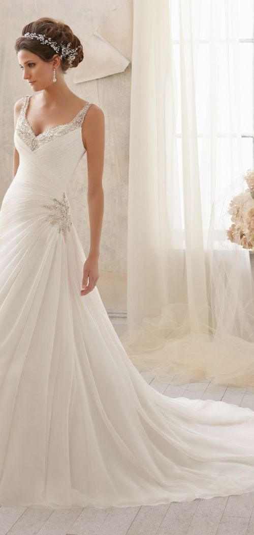 A-line Straps Beading Pleats Chapel Train Sleeveless Chiffon Wedding Dress