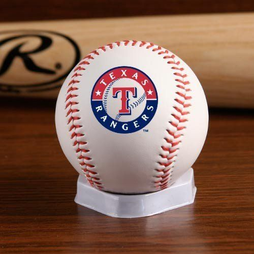 MLB Texas Rangers Team Logo Baseball by Licensed Products. Save 30 Off!. $6.30. Regulation size white baseball with red stitching allows your team's logo to take center stage.  Each baseball features the Rawlings logo on the back and commissioner signature on the top.
