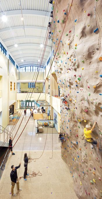 38-foot climbing wall at UNC Hospital Wellness Center in Northwest Cary, NC