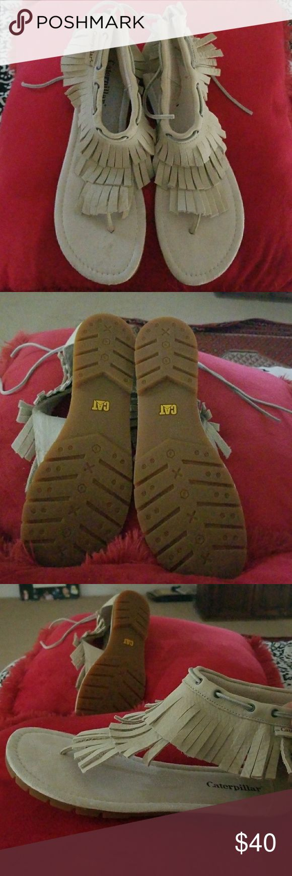 Cats caterpillar fringe sandals New with out tag I put them on bought them and never used Caterpillar Shoes Sandals