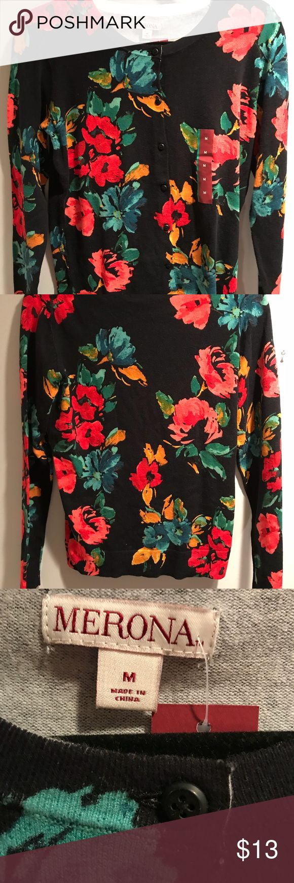 SUPER SOFT NAVY BACKGROUND WITH PEONIES BNWT SUPER SOFT NAVY BACKGROUND WITH PEONIES.  BUTTON DOWN CARDI BNWT MERONA Super cotton blend sweater,cardi or you can even wear this a top by itself . The colors of the flowers are vibrant and will go with everything or your closet! They are , pink, melon colored, mustard yellow, red, teal, light green and green.   Brand New With Tags Attached Comes from a smoke and pet free home.  Please check out my other listings! I offer a 10% bundling discount…