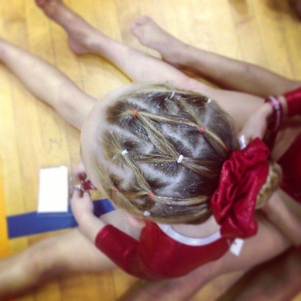 prime gymnastics hair with sparkles!