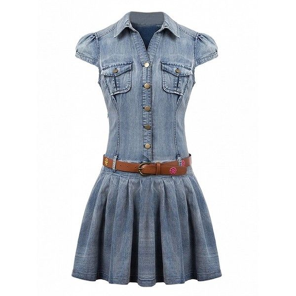 Choies Blue Shirt Collar Cap Sleeve Skater Denim Dress With Belt (150 RON) ❤ liked on Polyvore featuring dresses, blue, denim dress with belt, belt dress, blue dress, denim dress and belted dress