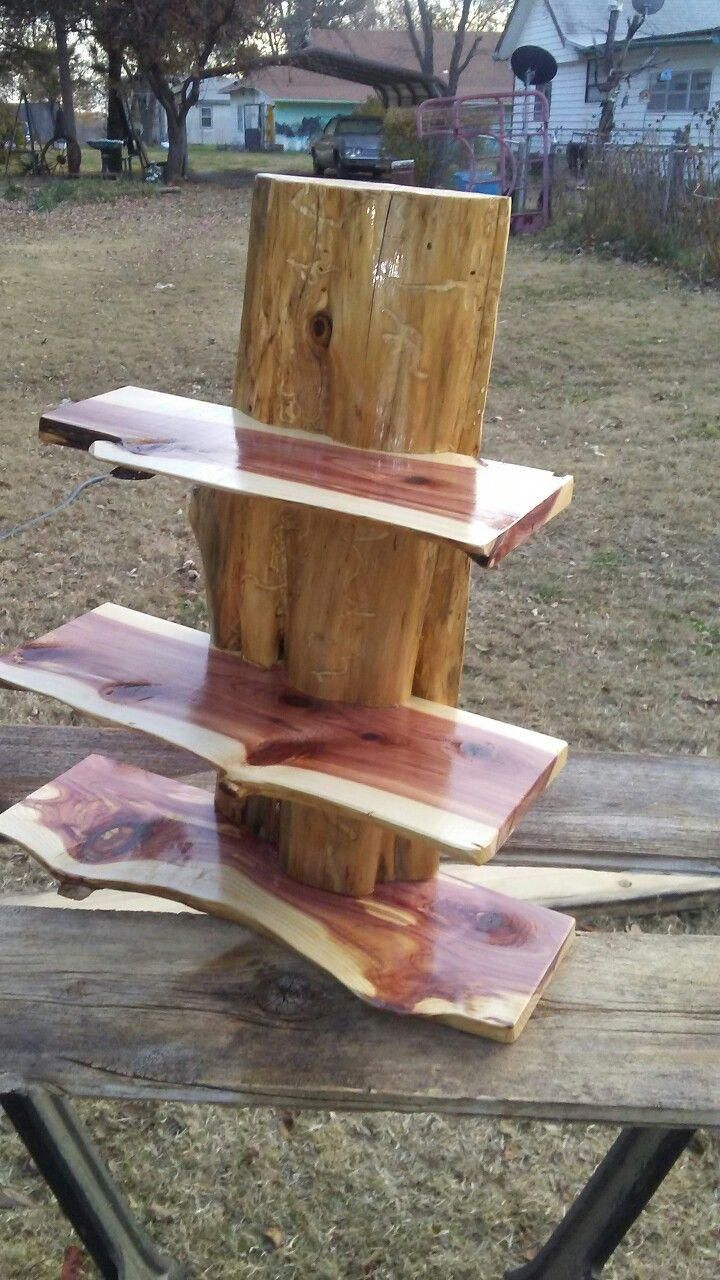 Cedar Slab Shelf Howtocravewoodlife Cedar Wood Projects Cedar Furniture Rustic Wood Furniture