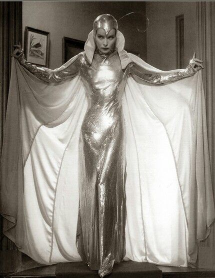 """Katharine Hepburn in 1933 film """"Christopher Strong"""" wears a supreme shiny space suit/silver moth costume"""