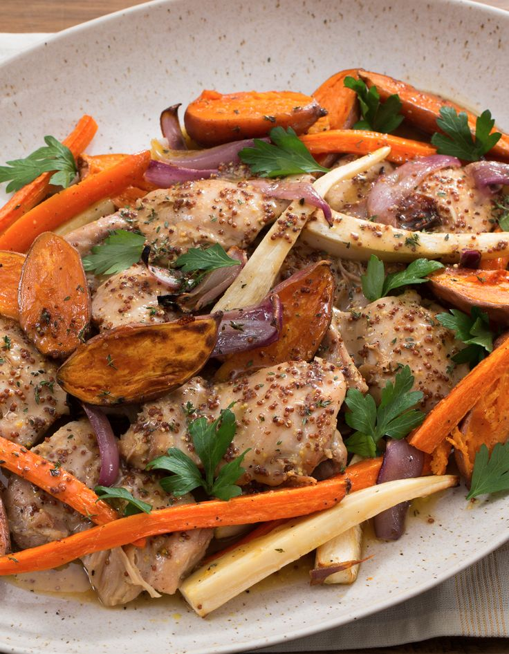 Apple Cider-Glazed Chicken with Roasted Parsnip, Carrots & Baby Sweet ...