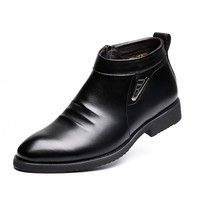 Wish | Men's Fashion Casual Leather Shoes Warm Shoes Business shoes
