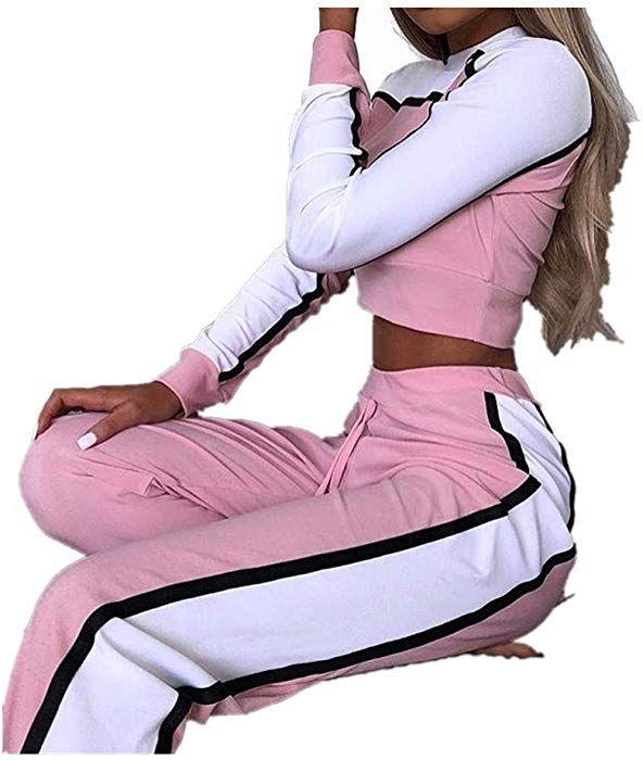 76aecd2b9 QinMM Sudadera Corta + Pantalones Conjunto Deportes para Mujer ...