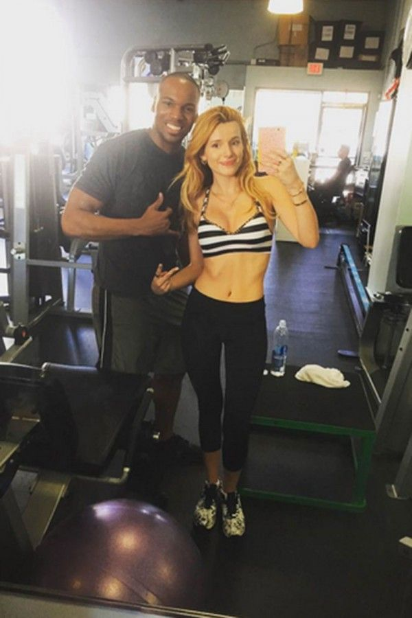 Bella Thorne and her trainer at the gym