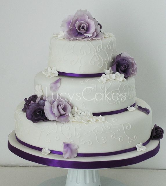 Really like this one!!! purple wedding cakes | Purple rose wedding cake | Flickr - Photo Sharing!
