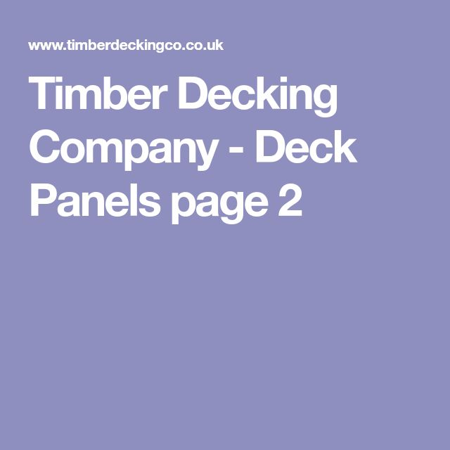 Timber Decking Company - Deck Panels page 2