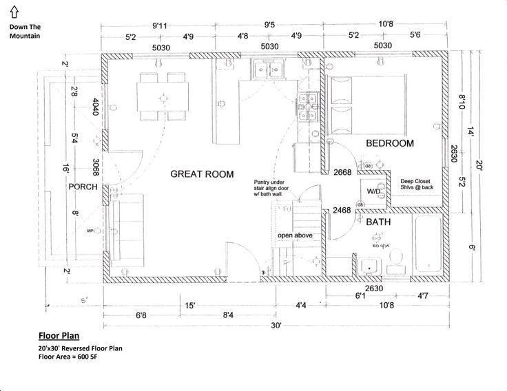 Floorplan 20x30 1.5 Story Cabin