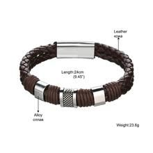 Load image into Gallery viewer, Retro Jewelry  Mens Stainless Steel Braided Leat…   – Men Bracelet Natural Moonstone Bead, Leather, Safety Clasp, Fashion, Trendy, Exclusive
