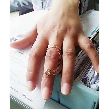 shixin® europese twee ringen met de ketting vrouwen midi ringen (zilver, goud) (1 st) – EUR € 1.99