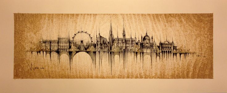 VIENNA PANORAMA  Drawing on paper, ink, water, coffee, 50cmx20cm  © Pavel Filgas 2016