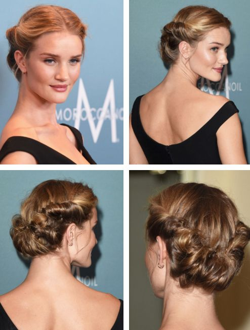 Rosie Huntington Whiteley in vintage 1940's victory roll updo hairstyle. #Hair