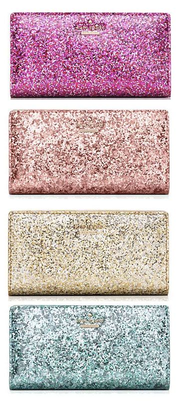 LOVE these gorgeous glittery kate spade wallets!