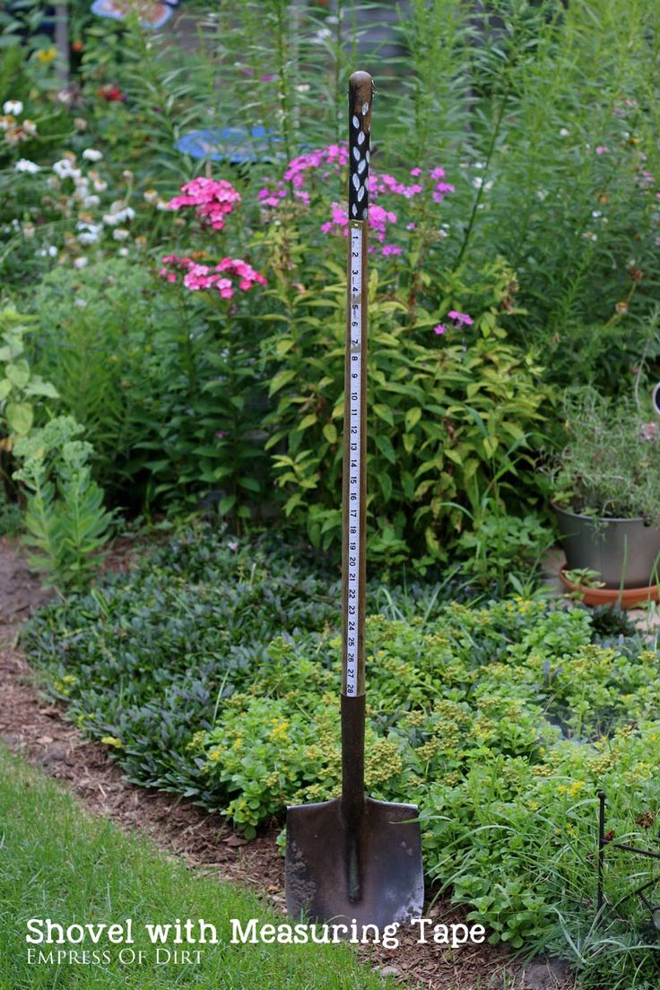 Here's a simple yet clever idea. Attach a measuring tape to your garden shovel. It's very handy for measuring seed sowing distances! Come see more garden hacks and let us know if you have any to share. #sponsored
