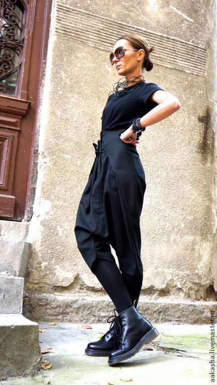 Купить Капри - брюки, шерстяные брюки, Капри, брюки с мотней, черные брюки, модные брюки