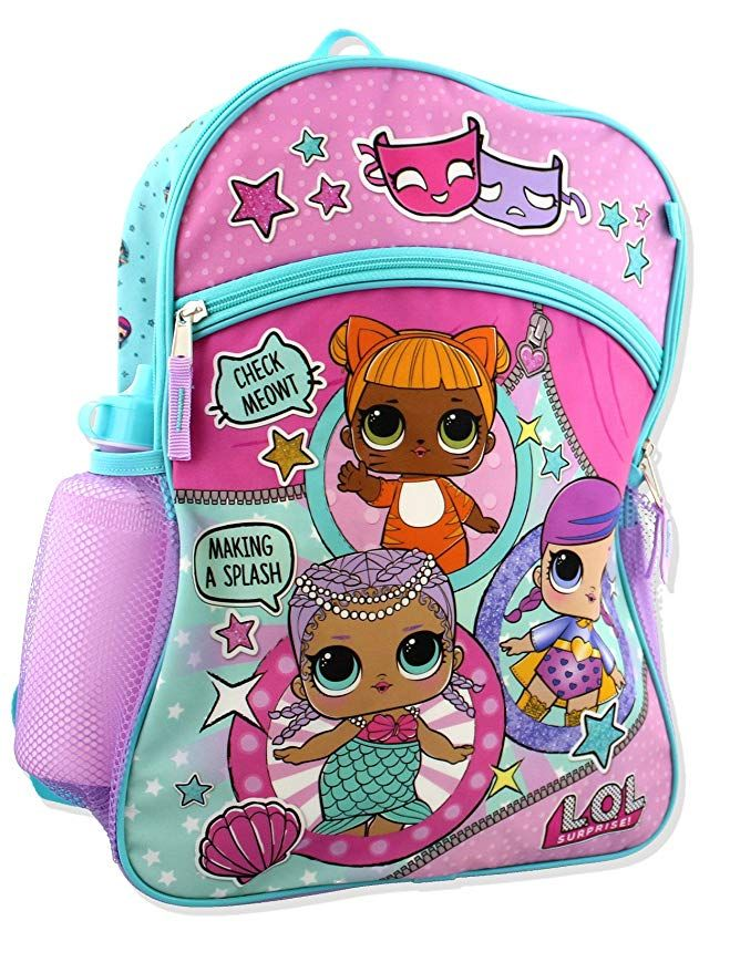 NEW LOL Girls L.O.L Surprise 5 Piece Backpack School Set Blue//Pink