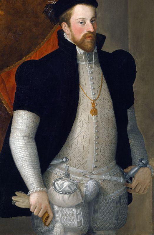 Retrato del archiduque Fernando II de Austria que llevaba una bolsa de anillo en la cintura de 1557, la imagen de Wikimedia Commons
