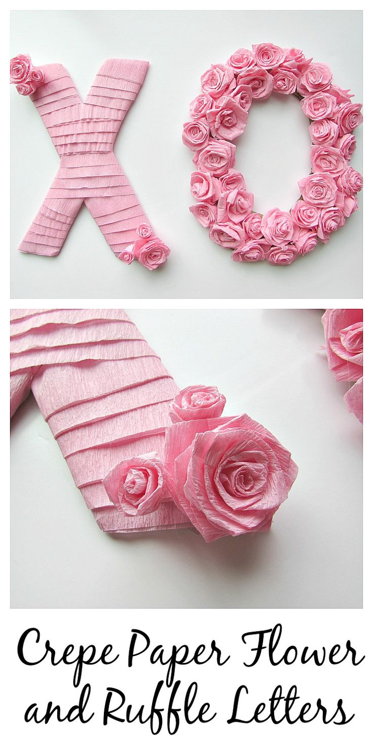 Crepe Paper Flower and Ruffle Letters. Perfect for Valentine's Day, birthday parties, or home decorations.