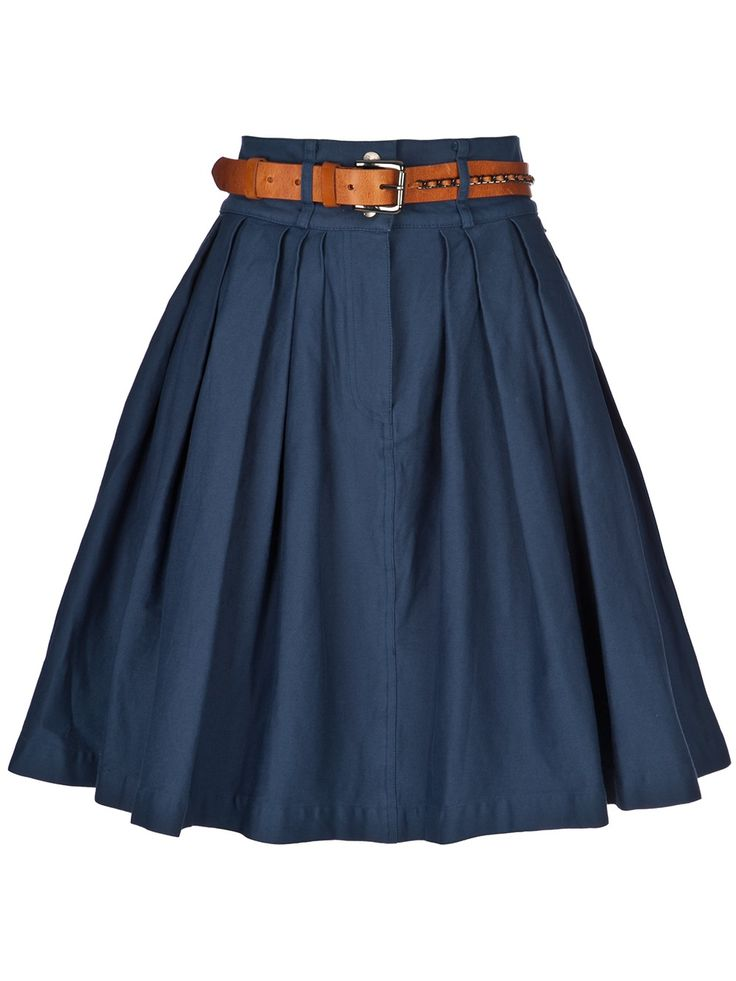 simply vintage blue skirt with belt & cute back pockets