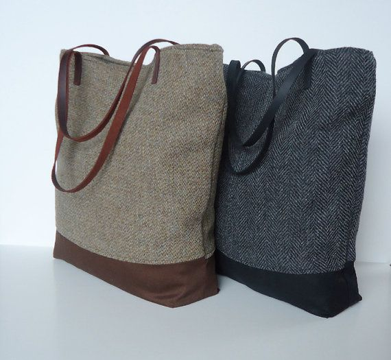 Upcycled Repurposed Harris Tweed Wool Tote in Tan Brown with Leather Handles by JuneberryStitches