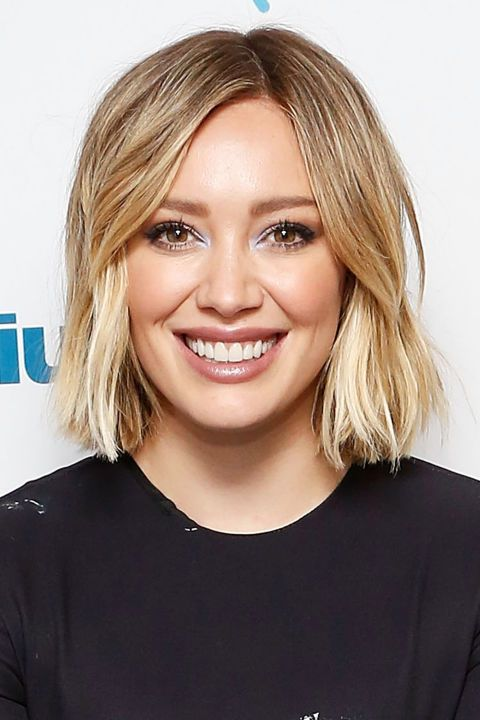 Ombré color pairs well with Victoria's Secret-length hair, but the look also complements shorter styles like no other.  This wearable look from Hilary Duff fades from her natural blonde into a buttery yellow.