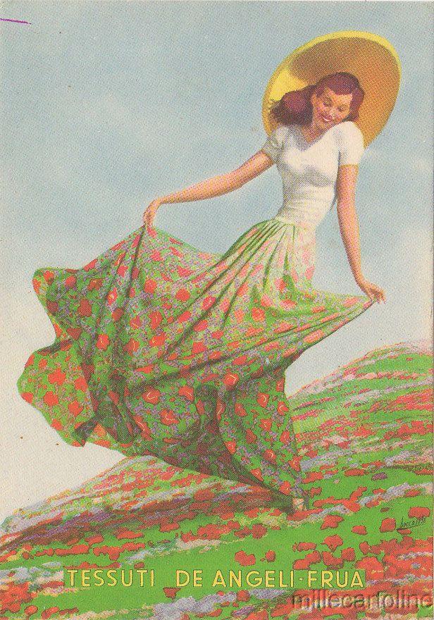 Old postcard, Boccasile sign.1941 circa Tessuti De Angeli Frua Advertising #millecartoline