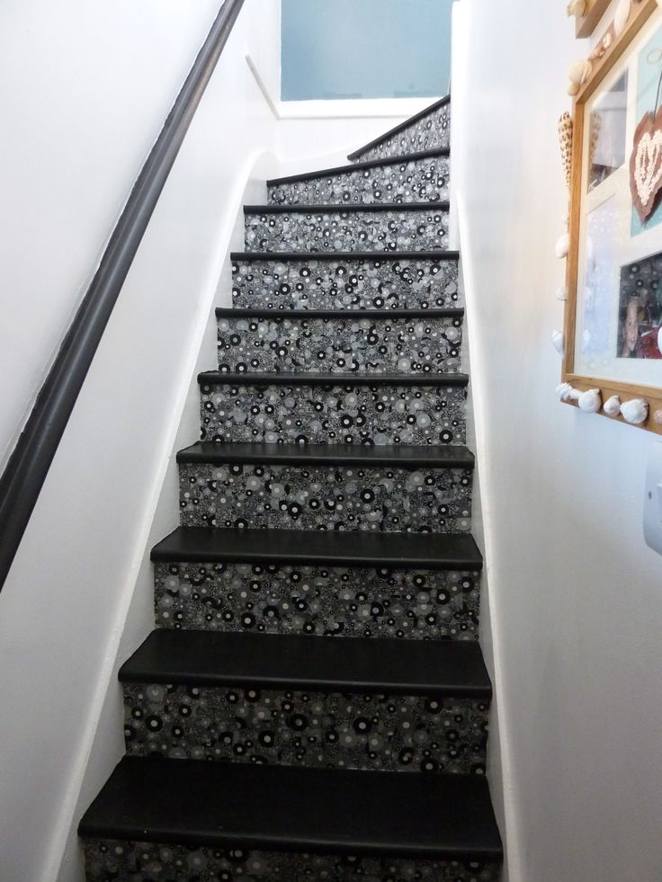 Decopatch stairs. LOVE this, that varnish from Decopatch is super-durable, these would stand up to lots of use.