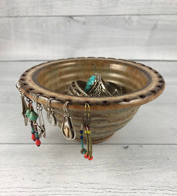 In Stock Now Ready To Ship A Truly Functional Art Piece This Unique Bowl Is A Neal Pottery Original Our Earring Bowl Jewelry Holder Earring Organizer Bowl