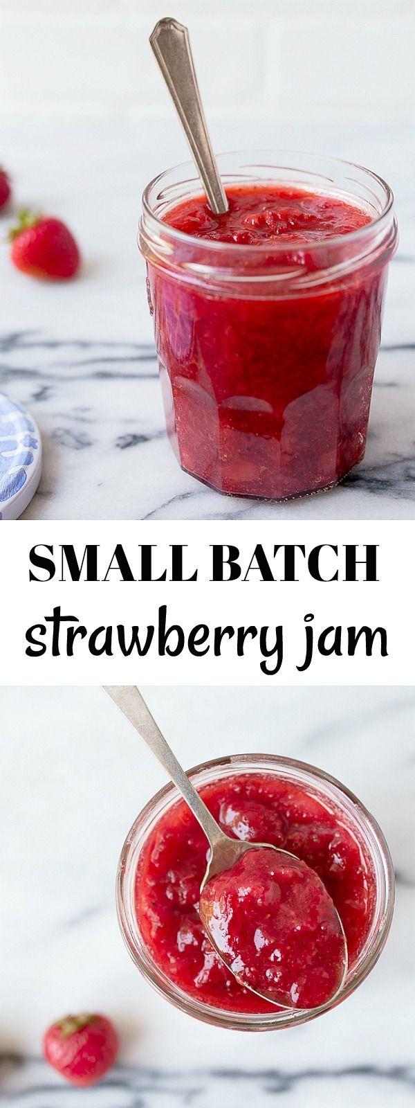 Small batch jam recipe: strawberry jam, makes 1 pint of jam. Small batch strawberry jam with just 2 ingredients!