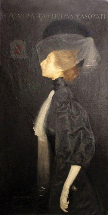 Ritratto della sorella Elvira, (Portrait of the sister, Elvira) 1907 by Felice Casorati