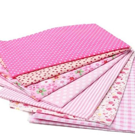 New Bulk Fabric Cotton Quilt Patchwork 8 pcs Vintage Pink Sewing