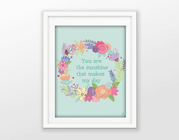 Instant download fiori citazione flowers quotes sunshine home decor wall decor shabby chic digital art di PrintWithLove11 su Etsy