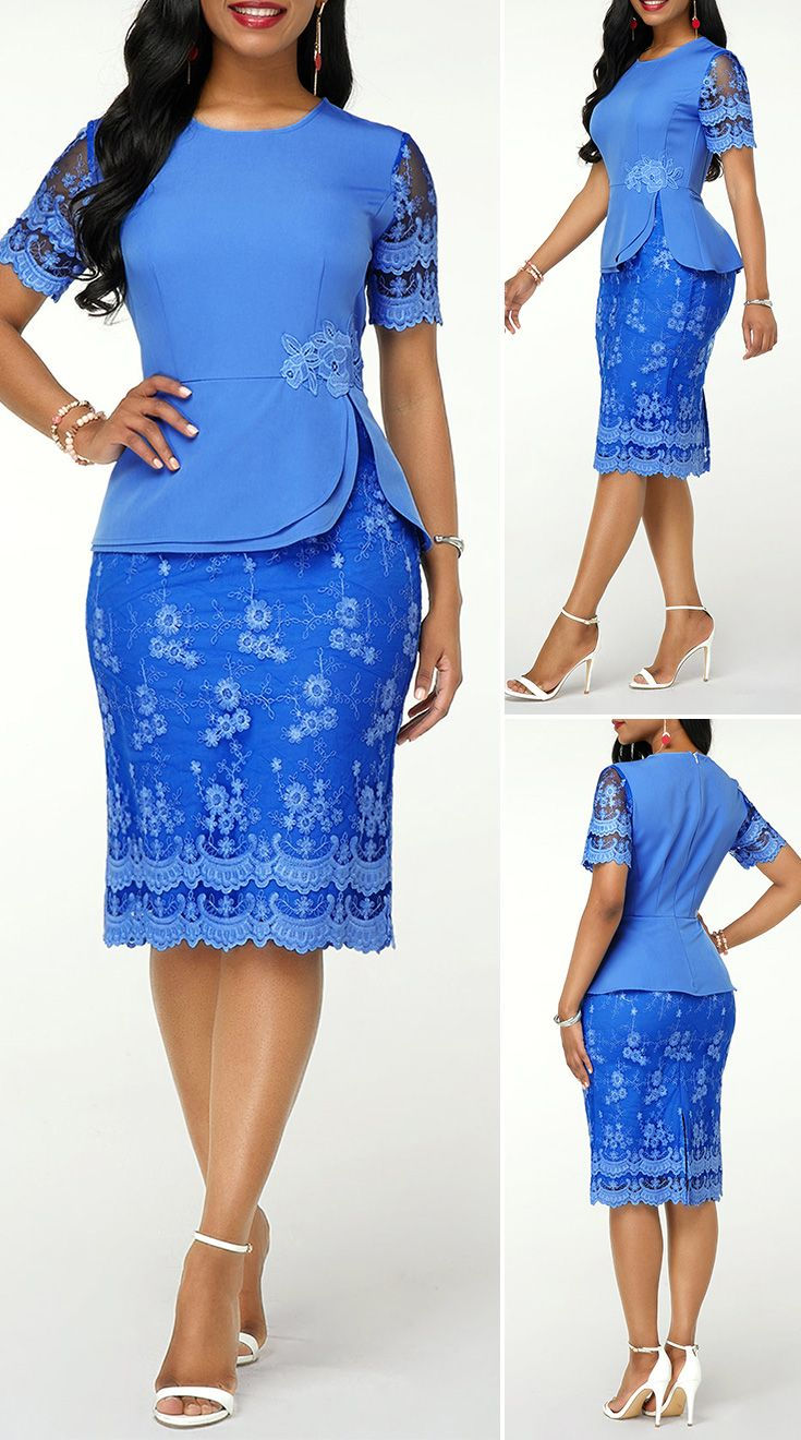 Round Neck Short Sleeve Back Slit Lace Dress