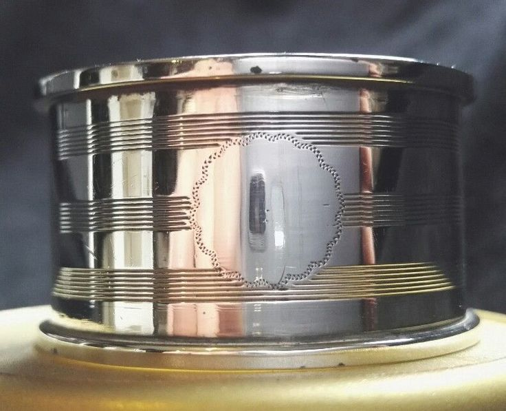 SOLID HALLMARKED STERLING SILVER ART DECO NAPKIN RING PERFECT + VACANT CARTOUCHE