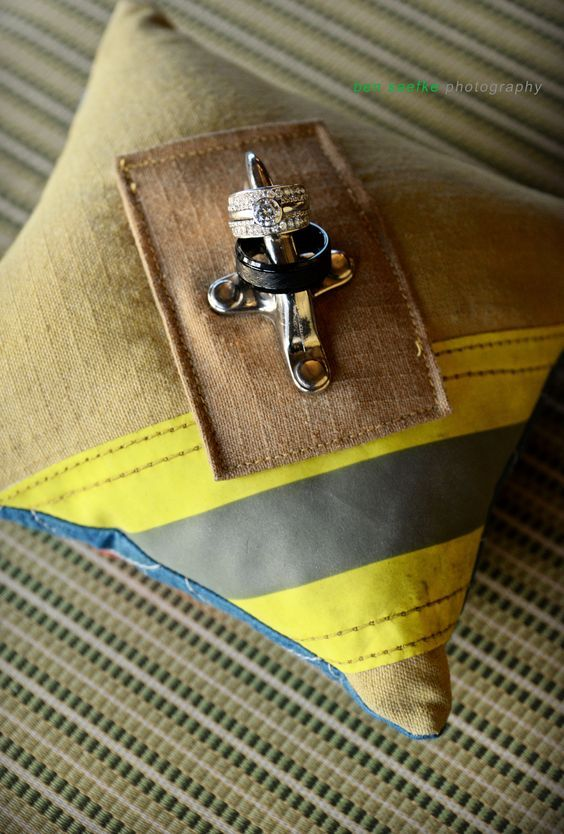 wedding rings, firefighter wedding, ring bearer pillow,