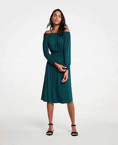 4e781ff3e2cf Shop Ann Taylor for effortless style and everyday elegance. Our Off The  Shoulder Smocked Waist Dress is the perfect piece to …