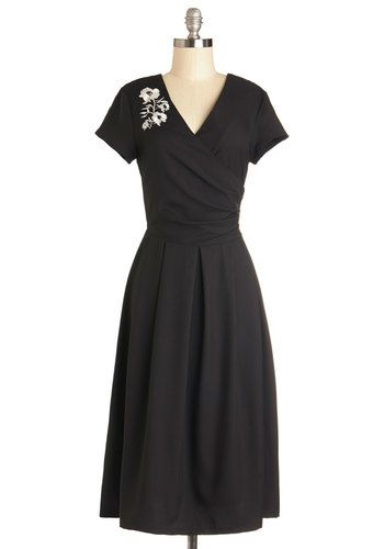 Demure All I Want Dress in Noir - Black, Embroidery, Cocktail, Vintage  Inspired