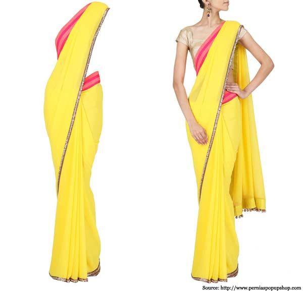 Yellow-georgette-Sari-Manish Malhotra Neon Collection